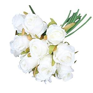 Hand Feel Moisturizing Rose Simulation Bouquet Silk Flower Living Room Table Decoration Floral Flower Arrangement Artificial Flower White 1pc 44