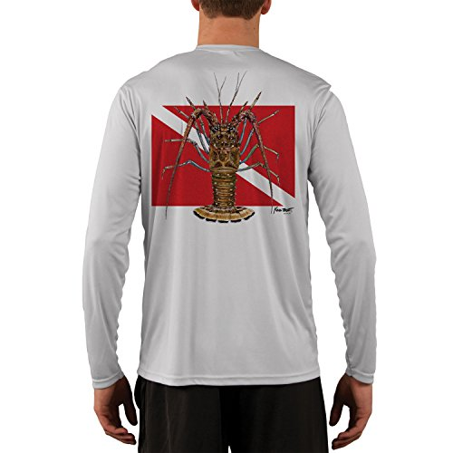 Kevin BRANT Lobster Dive Flag Men's UPF 50+ Long Sleeve T-Shirt Small Pearl Grey