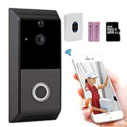 Wireless Video Doorbell 720p Hd Wifi Smart Video Doorbell Camera With Chime Motion Detection Two Way Talk Home Security Doorbell Camera For Ios Android 2 Rechargeable Battery Built In 8g Storage Card