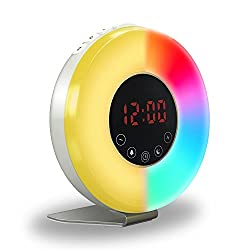 Wake Up Light, Digital Alarm Clock with Sunrise Simulation, Night Light, Natural sounds, FM radio, Snooze function, 7 Auto Switch Colors, Best Light Clocks for Bedroom.