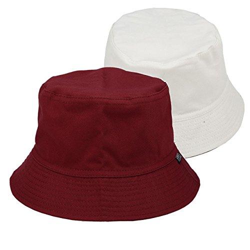 Reversible Rain Hat (Faleto Bucket Hat boonie Hat Wide Brim Fishing Hat Reversible Cotton Casual Plain Cap (Burgundy))