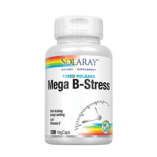 Solaray® Mega Vitamin B-Stress, Two-Stage Timed-Release | Specially Formulated w/B Complex Vitamins for Stress Support | Non-GMO | Vegan | 120 Tabs