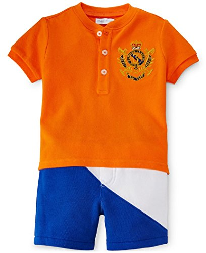 Ralph Lauren Boy's Cotton Shirt & Short Set, Bright Signal Orange (12M)