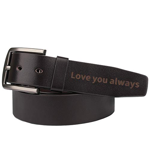 Personalized Engraved Leather Belt for Men,Perfect Boyfriend Gifts,Anniversary Gifts for Men-Love you always