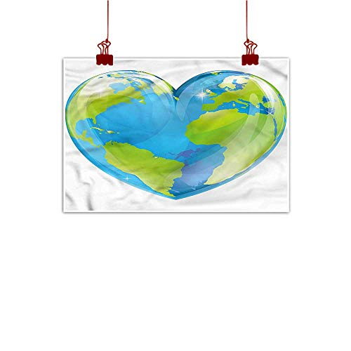 warmfamily Fabric Cloth Rolled Earth,Vibrant Globe Heart Shape 20