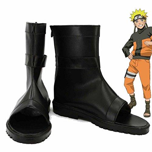 Naruto Anime Uzumaki Naruto Ninja Scarpe Cosplay Stivali Su Misura Nero 1