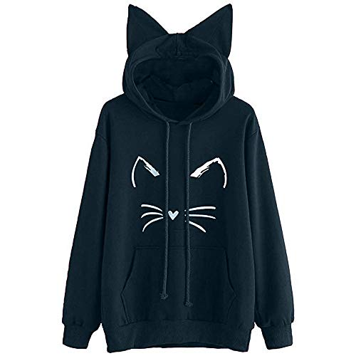 Girls Hoodie, Misaky Womens Cat Ear Blouse Sweatshirt Hooded Pullover Tops (X-Large, R_Navy) ()