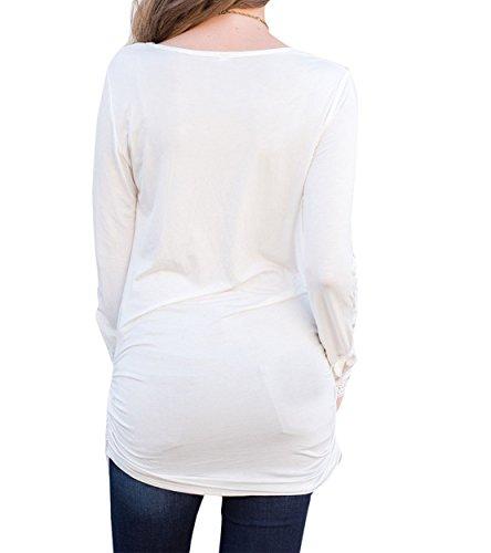 Mini Mujeres Vestidos Partido De Encaje Colores Apretado Vestido Ocasional Pliegue Blanco Irregular Lisos Larga Manga Redondo Splicing Camisas Cuello Beachwear Verano UqC0wU