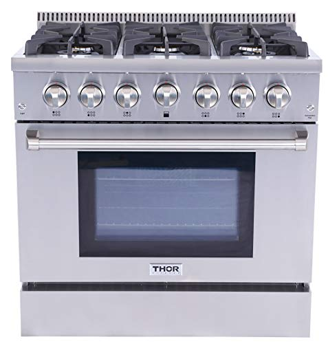 Thor Kitchen 4 package- 36inch Pro-style Gas Range, 36inch French Door Refrigerator, 36inch Remote Range Hood, 1.6cuft Microwave Oven (Range Hood French)