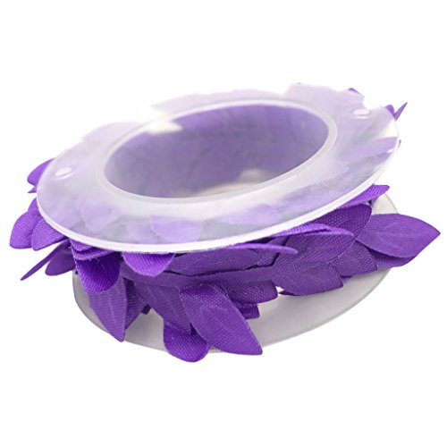 MagiDeal 2 Meters/Roll 2.5cm Leaves Lace Trim Embellishment Satin Leaf Trim Ribbon DIY Sewing Vine Garland Garment Appliques Bridal Spring Decorations - deep purple (Leaf Ribbon Satin)