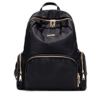 Fashion Nylon Waterproof Backpak Bag - Top Handle Tote Bag Lightweight Durable Casual Bag for School, Office, Travelling, Daily Use (Classic Black)