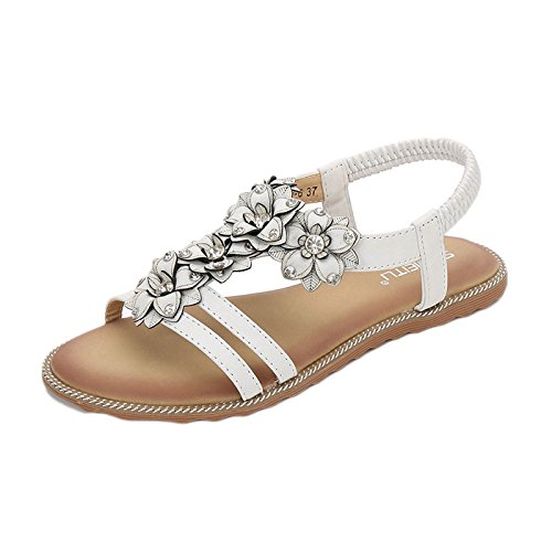 Aqua Summer Bohemia Female Sandals Elastic Fishmouth Travel Open-Toed Sandy Sandals White BNMzrYT63r