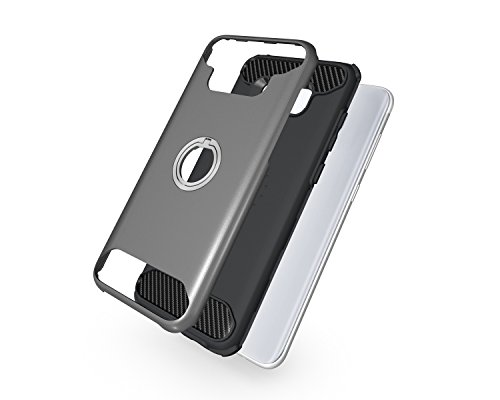 Funda Galaxy S8 plus,Saincat PC + TPU Silicona con Diseño 3D Tridimensional Trasera Carcasa Case con Stand Holder Bumper Case 2 en 1 con integrado Soporte Anti-Drop Shockproof Slim Funda Ranuras para  Gris