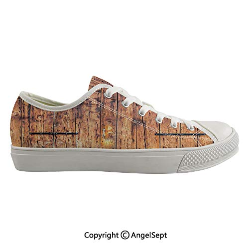 Durable Anti-Slip Sole Washable Canvas Shoes 16.53inch Antique Timber Planks in Weathered Tones with Locks Vintage Style Country House Picture Decorative,Cream Flexible and Soft Nice Gift ()