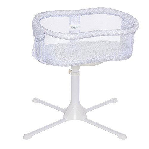 (Halo Bassinest Swivel Sleeper Bassinet - Essentia Series, White, Blue Ikat)
