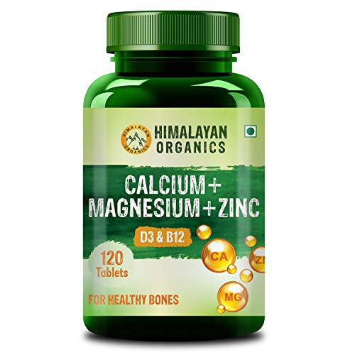 Himalayan Organics Calcium Magnesium Zinc Vitamin D3 & B12-120 Vegetarian Tablets