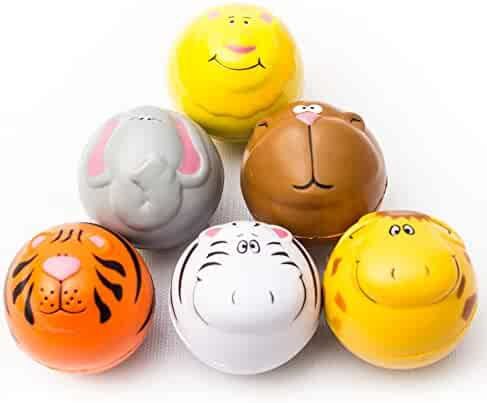 12 Pieces - Zoo Animals Squeeze Stress Ball Bulk for Kids and Adults Party Favor - Assorted Designs