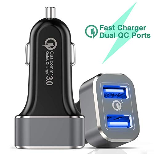 Quick Charger Super - Car Charger, Capshi Quick Charge 3.0 36W Dual USB Car Charger Adapter Fast Car Charging Compatible Samsung Galaxy Note 9 S8 S9 Note 8, iPhone X 8 7 6s Plus, iPad, iPad Air 2/Mini 3, Pixel, LG, HTC