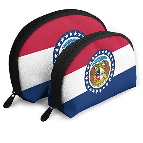 Cosmetic Bag Missouri Flag MO Travel Makeup Pencil Pen Case Multifunction Storage Portable - 2 Piece Set - Set Missouri Train