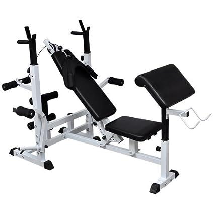Banco multifunción estación pesas entrenamiento profesional muscolo brazos Petral addomanale ajustable Fitness Gym Casa Sport Gimnasio