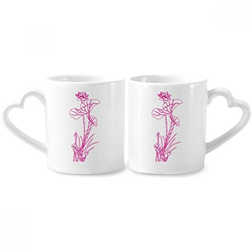 Lotus Leaf Lotus Flower Reed Flower Plant Couple Mugs Ceramic Lover Cups Heart Handle 12oz Gift