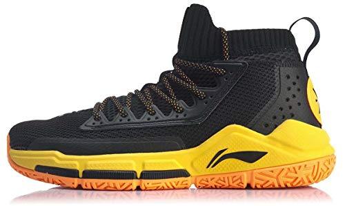 LI-NING Men Fission V Cushioning Basketball Shoes Lining Anti-Slip Professional Shock Absorption Sneakers Sports Shoes Black Yellow ABAP027 US 7.5