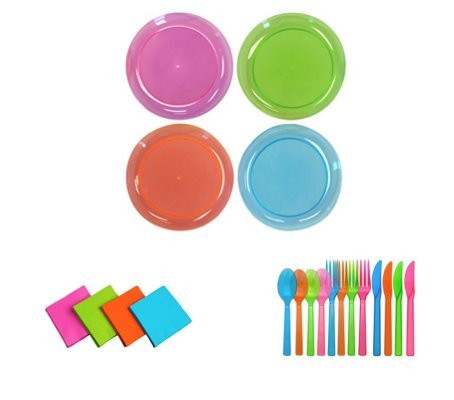 40 9 Inch Dinner Plates, 48 Place Settings Full Sized Cutlery and 48 Beverage Napkins in Assorted Neon by Party Essentials; Bundled by Oasis Mercantile (1) (Glow In The Dark Napkins)