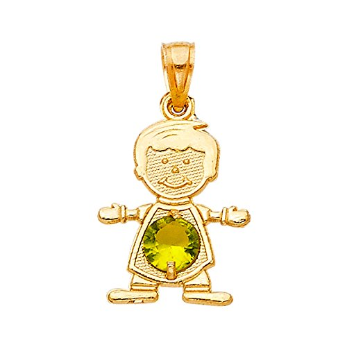 TGDJ 14K Real Yellow Gold August Birthstone Charm Boy Pendant (8. August) (August Birthstone Boy Charm)