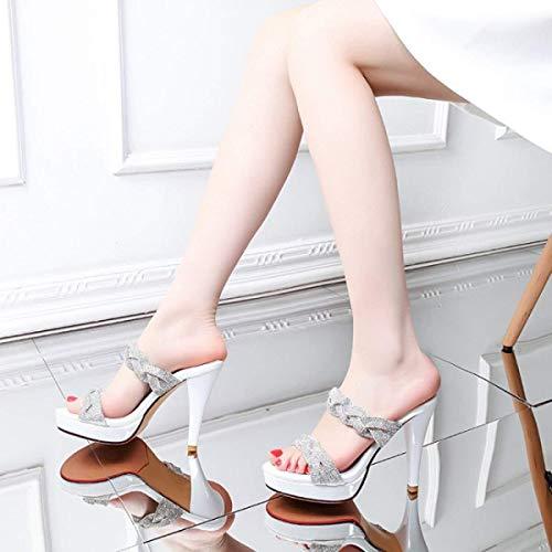 color Negro Hhgold De Alto Tamaño Diamantes 36 Tacón Blanco Las Imitación Sandalias Mujeres ZZwzq618