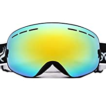 Evangel Unisex Outdoor Windproof Dustproof Ski Goggles Double Lens Anti-fog Big Spherical Professional Ski Glasses Mirror Multicolor Snow Goggles