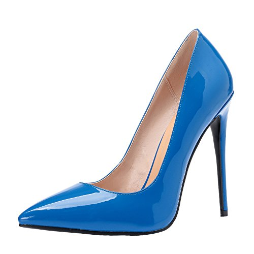 Heel 4 Pointed Blue Luxury US Stilettos Petent Size Pumps Shoes for High Toe ZAPROMA Women 15 Z7qxYnT7
