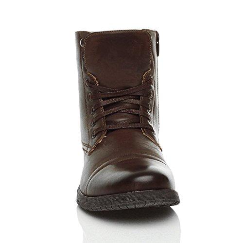 Scuro Scuro lacci con uomo da basso numero e e e Marrone stivali zip militari tacco Scarponcini FCZ4Aqwq
