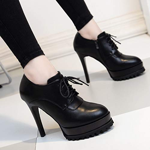 Frenulum Shoe Five With Fine Single Waterproof Shoes Shoes Joker Women'S Deep Spring Platform Black KPHY 12Cm High Thirty Heel BWTP6