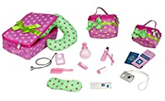 For girls on the go, this chic and stylish travel set is a must. It has everything a girl needs for a business trip, international flight, or weekend getaway. With 17 different and independent pieces, this set provides as much fun and enterta...