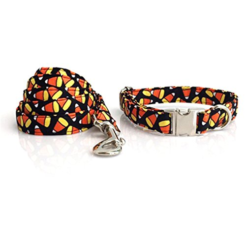 Kuntrona Halloween little pumpkin bowtie dog collar leash set adjustable buckle pet accseeary -