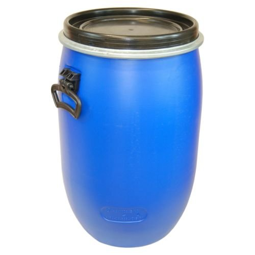 Keg, plastic drum with open lid galvanized locking lever, blue, 60 L (22095)