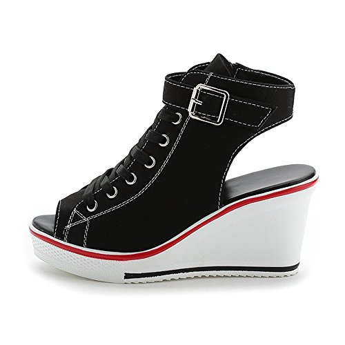 Wedges Sandals Women, Peep-Toe Summer Casual Platform Canvas Sneakers(Black42/11 B(M) US Women) ()