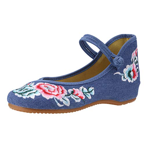 CINAK Floral Embroidered Shoes for Women- Comfortable Loafer Black Casual Round Toe Ballet Flats Shoes(6 B(M) US/UK4/EU36/CN37/23.5CM,Blue)