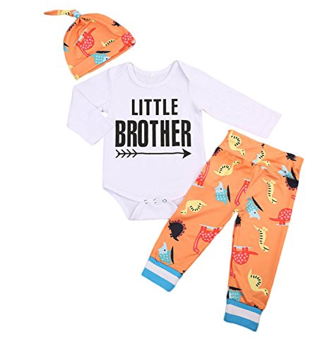 Newborn Lil Little Brother Big Brother Bro Outfit Sets (70 (0-3 Months), Little Brother with Orange Dinosaur Pants and Hat) ()