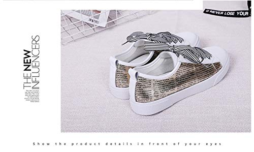 5 5size Blancos Con Planos 6 Zapatillas De Letras Zhijinli Deporte Tamaño Zapatos Casuales Lazo Mujer wqAngZ7fRx
