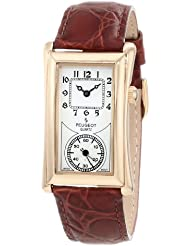 Peugeot Vintage Unisex 14K Gold Plated Contoured Dial Brown Leather Band Doctors Nurse Watch 2038G