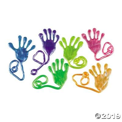 Fun Express Jumbo Pearlized Sticky Hands - Toys - 12 Pieces: Toys & Games
