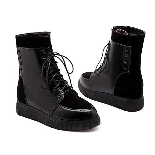AgooLar Damen Niedrig-Spitze Gemischte Farbe Schnüren Rund Zehe Niedriger Absatz Stiefel Schwarz