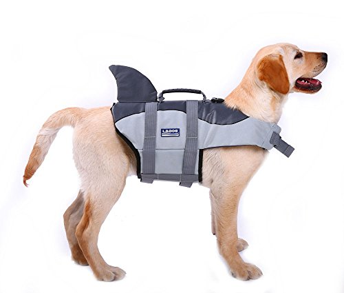 QBLEEV Shark Dog Life Jacket,Pet Floatation Vest Float Coat by, Quick Release Lifesaver Preserver Swimming Suit Adjustable Belt Harness Pool Boat(L.Grey) by QBLEEV