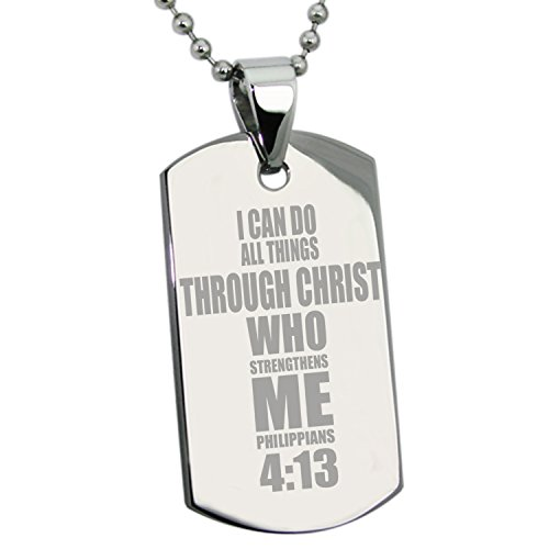 Dog Tag Bible (Stainless Steel Philippians 4:13 Bible Verse Dog)