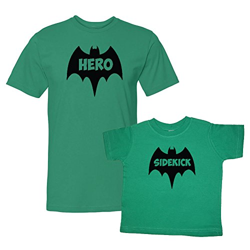 We Match! Bat Hero & Sidekick Super Hero Matching Adult T-Shirt & Child T-Shirt Set (18M T-Shirt, Adult T-Shirt Large, Kelly Green) (Super Bats Set)
