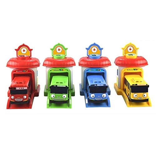 XuBa 4 pcs / set Bus Car Toy the small bus Miniature Korean Cartoon plastic model pull back of the car bus toy (Tayo The Little Bus Garage)