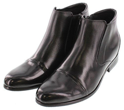 Toto A2201-2.8 inches Taller - height Increasing Elevator Shoes - Black Zipper Boots jzfetfE