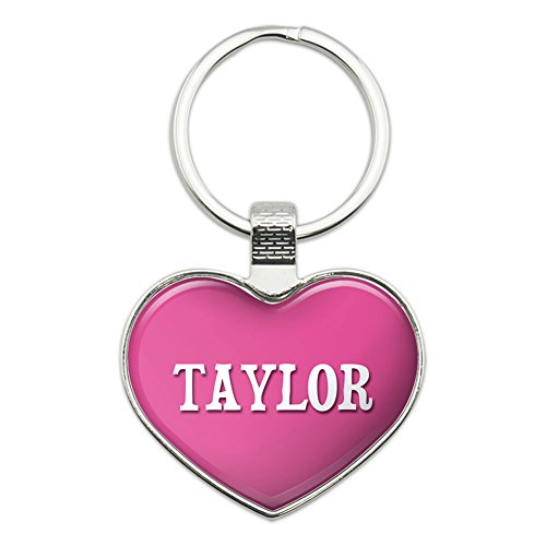 Graphics and More Metal Keychain Key Chain Ring Pink I Love Heart Names Male T Tad - Taylor