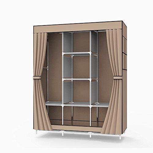 UDEAR Portable Non-woven Fabric Wardrobe Double Rod Storage Organizer Clothes Closet Coffee Double Wardrobe